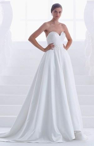 Abito da sposa lungo modello Teodora senza spalline cintura in pizzo e perle