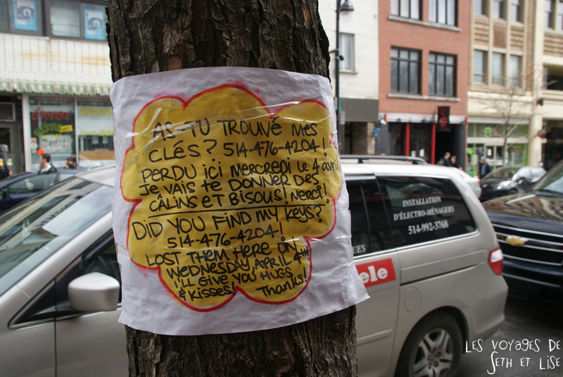 blog voyage canada montreal pvt affiche perdu cle bisou calin