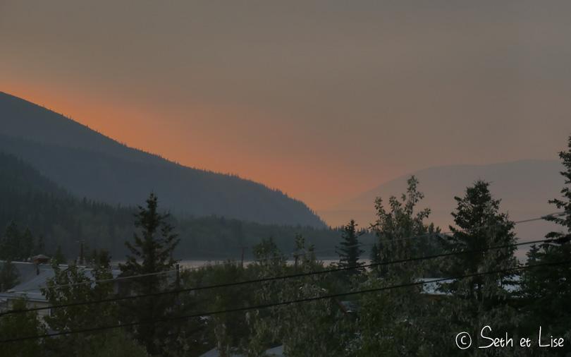sunset feux dawson bushfire