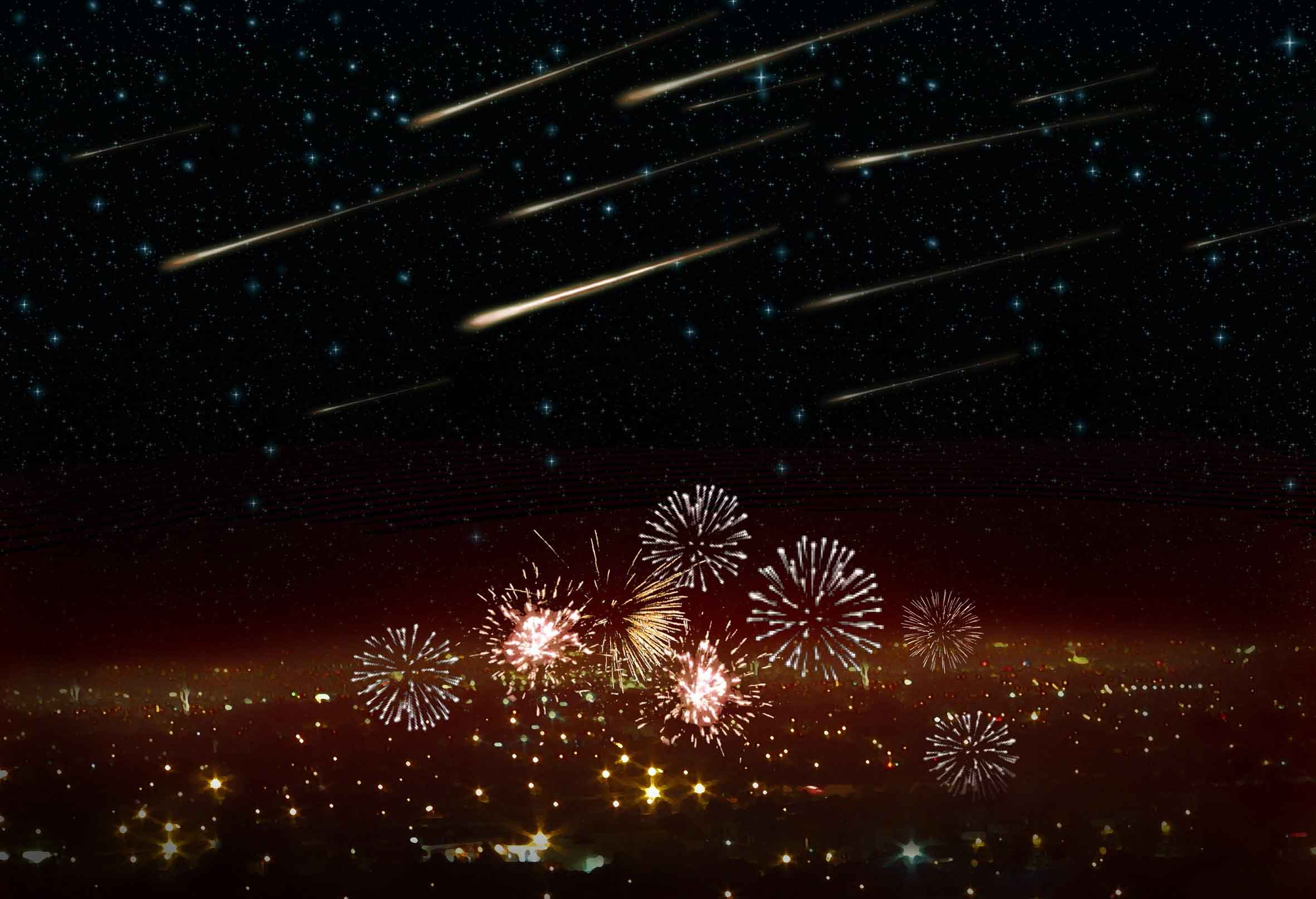 New Year's Eve meteor shower. Illustration: Danielle Futselaar/SETI Institute.