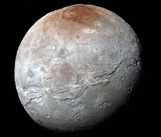 Charon in Enhanced Color NASA's New Horizons captured this high-resolution enhanced color view of Charon just before closest approach on July 14, 2015.Credits: NASA/JHUAPL/SwRI