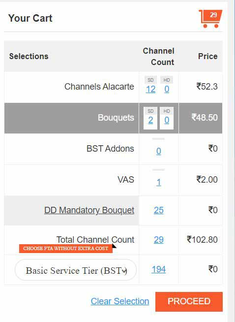 How to choose channels in Videocon d2h in Hindi?