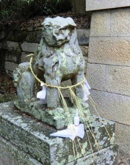 Old statue at Hachiman shrine in Karato, Teshima