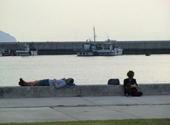 Chilling in Miyanoura port, on Naoshima