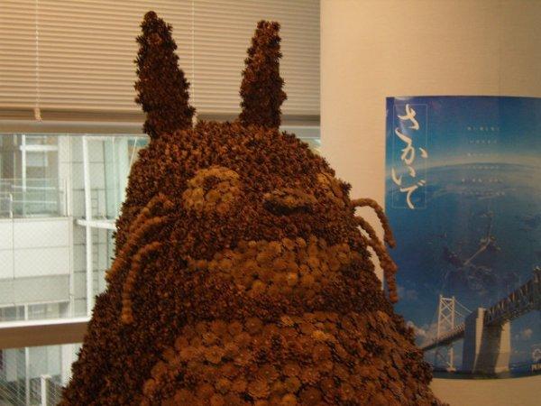 Totoro made of pine cones in Takamatsu