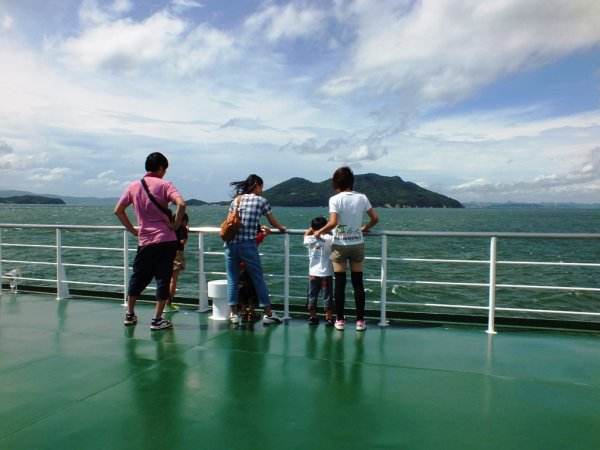 Olive Line Ferry upper deck - Ogijima in the background