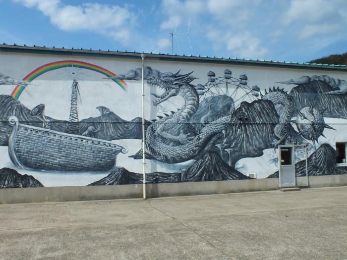27 - Kenji Yanobe's Mural in Sakate - Shodoshima
