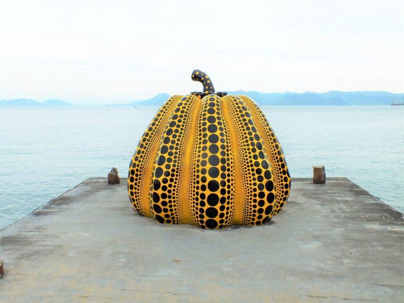 a picture of Yayoi Kusama's Yellow Pumpkin on Naoshima