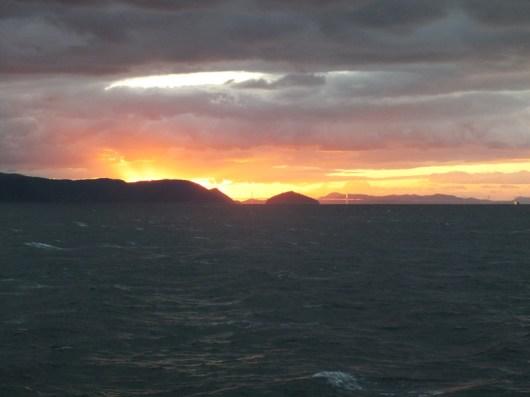 Sunset over the Seto Inland Sea and the Great Seto Bridge - 1