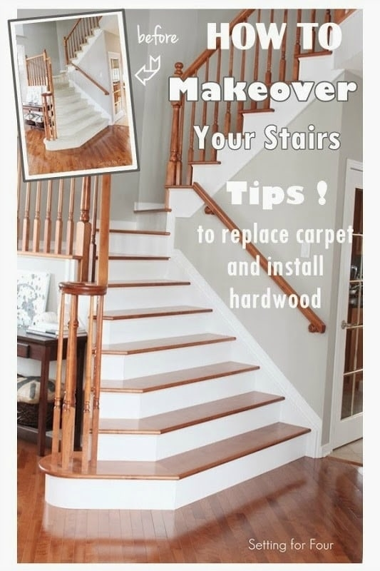 How To Makeover Your Stairs Find A Good Pro Tips To Replace   Replacing Carpeted Stairs With Hardwood   Stair Tread   Staircase Makeover   Hardwood Flooring   Stair Case   Laminate Flooring
