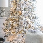 Flocked Christmas Tree White And Gold Glam Style Setting For Four