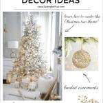 Elegant Gold And White Flocked Christmas Tree Setting For Four