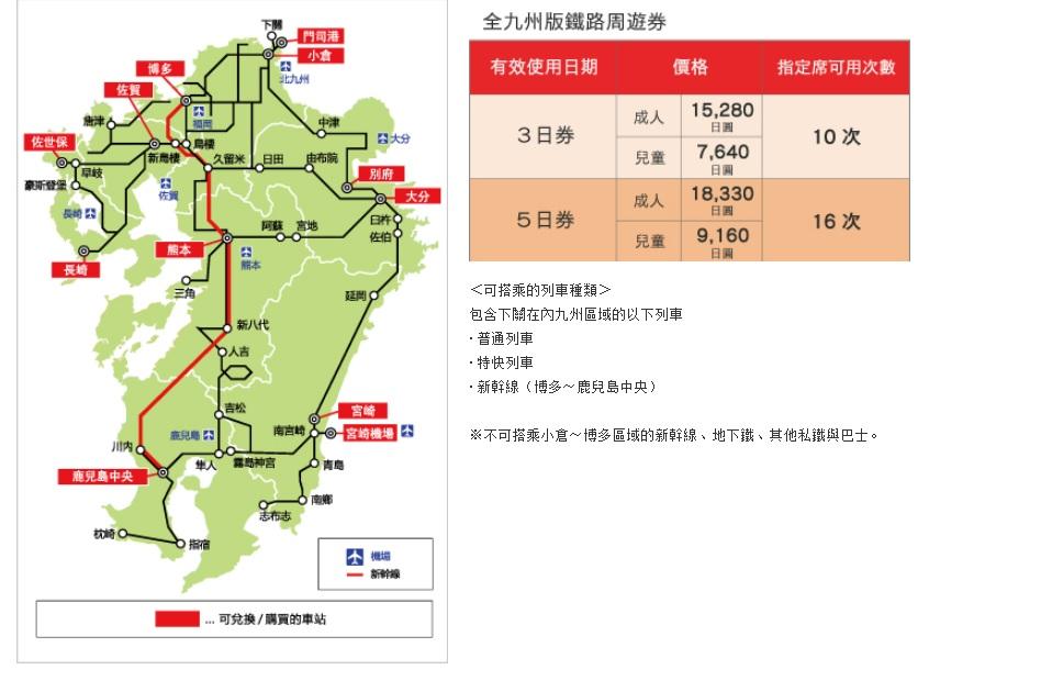 JR PASS 北九州 / 全九州鐵路周遊券(電子券)   東南旅遊網