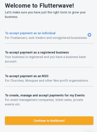 Flutterwave business type