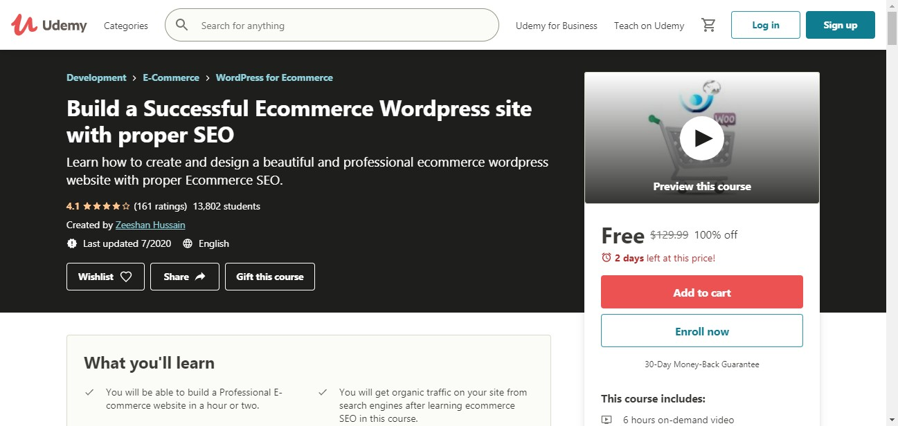 (Free Course) Build a Successful Ecommerce WordPress site with proper SEO