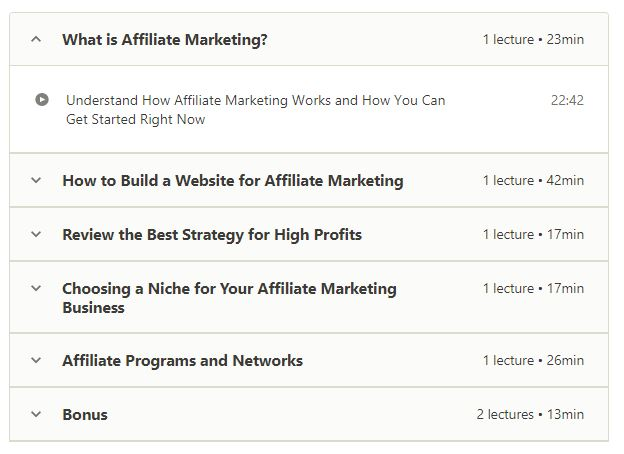 FREE Affiliate Marketing Course for Beginners Content