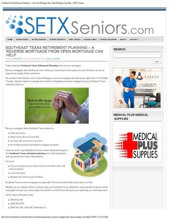senior citizen advertising Port Arthur