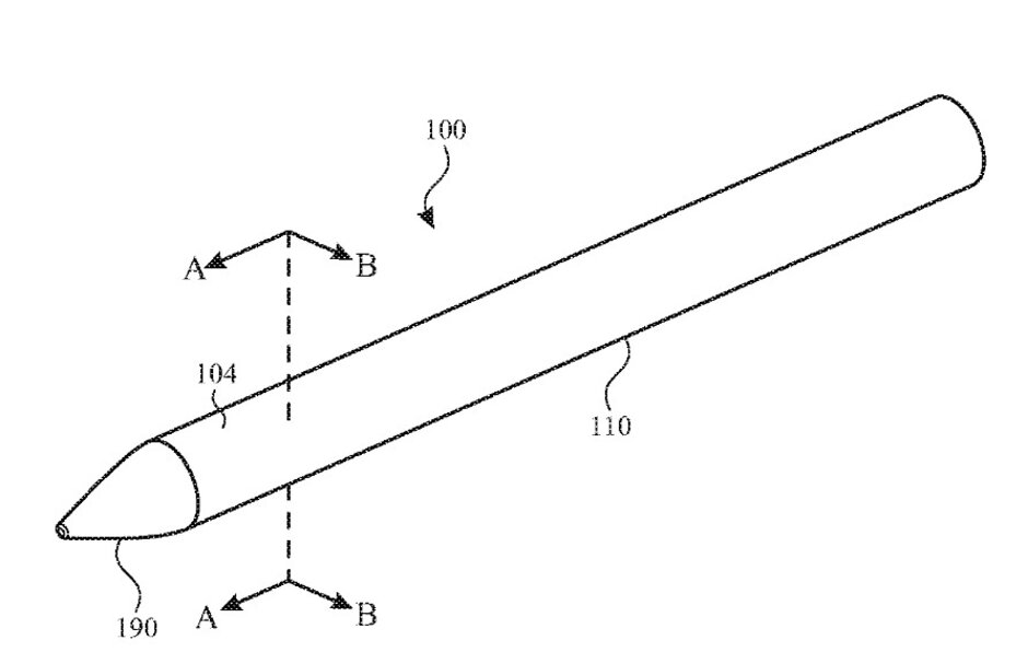 Illustration of the Apple Pencil from Apple's new patent application - Patent for Apple Pencil includes an embedded camera, biometric sensor, mike, and gesture controls