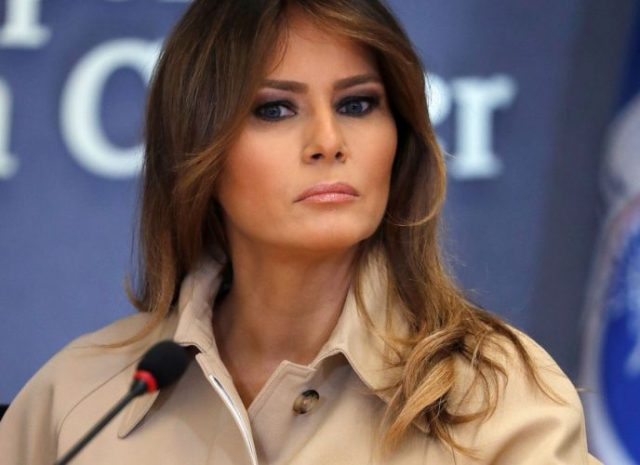 First lady Melania Trump appears with President Trump at FEMA briefing in Washington