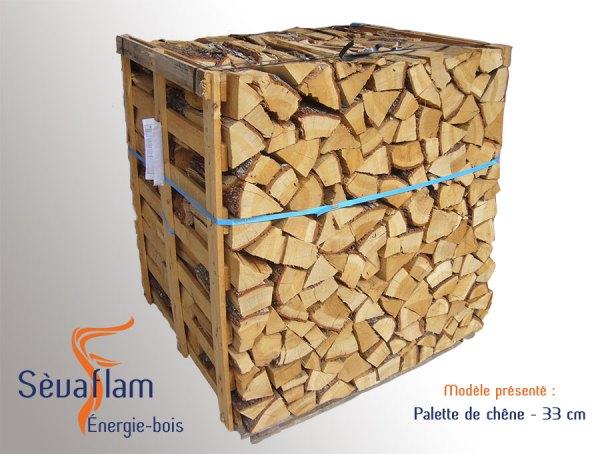 Bois bûche sur palette quartier d'hiver G1 chêne 33 cm | Sevaflam - Bois de chauffage sur palette