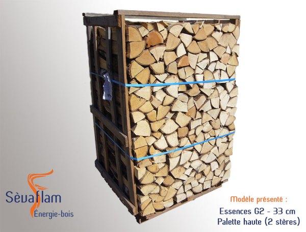 Bois bûche 1er choix mi-saison G2 33 cm Haute - Sèvaflam - Bois de chauffage sur palette