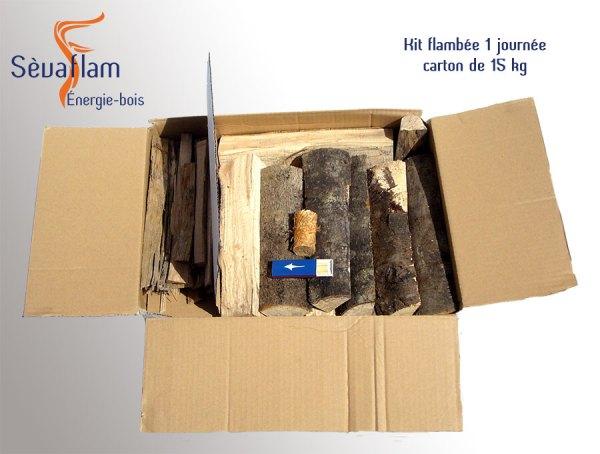 Kit flambée une journée - carton de 15 kg | Sèvaflam - Bois de chauffage et allumage