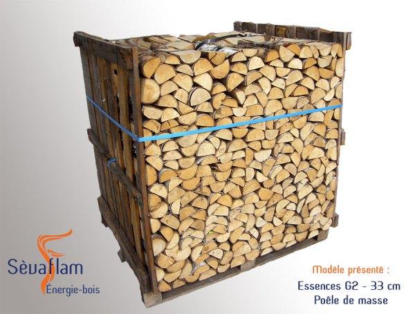 Bois bûche poêle de masse sur palette petits quartiers G2 33 cm | Sevaflam - Bois de chauffage sur palette