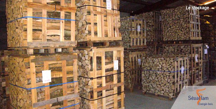 Stockage du bois de chauffage | Sèvaflam - Bois de chauffage livré sur palette