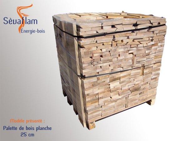 bois planche sec séchoir palette 1,8 stères - 25 cm| Sèvaflam - Bois de chauffage sur palette
