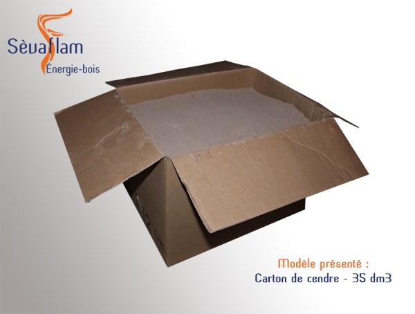 Carton de cendres 35 dm3 | 15 kg | Sèvaflam - Bois de chauffage sur palette
