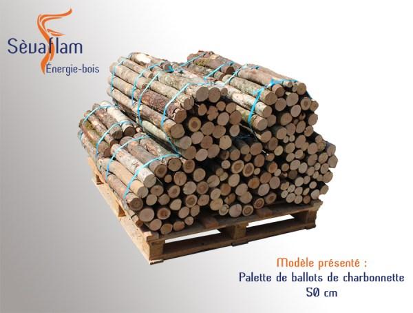 Charbonnette 50 cm en ballot sur palette - 35 kg | Sèvaflam - Bois de chauffage sur palette