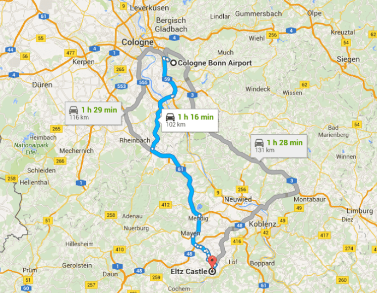 map of drive from cologne to Eltz castle