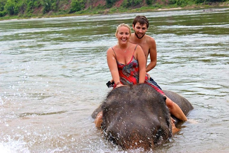Elephant Bathing in Luang Prabang, Laos