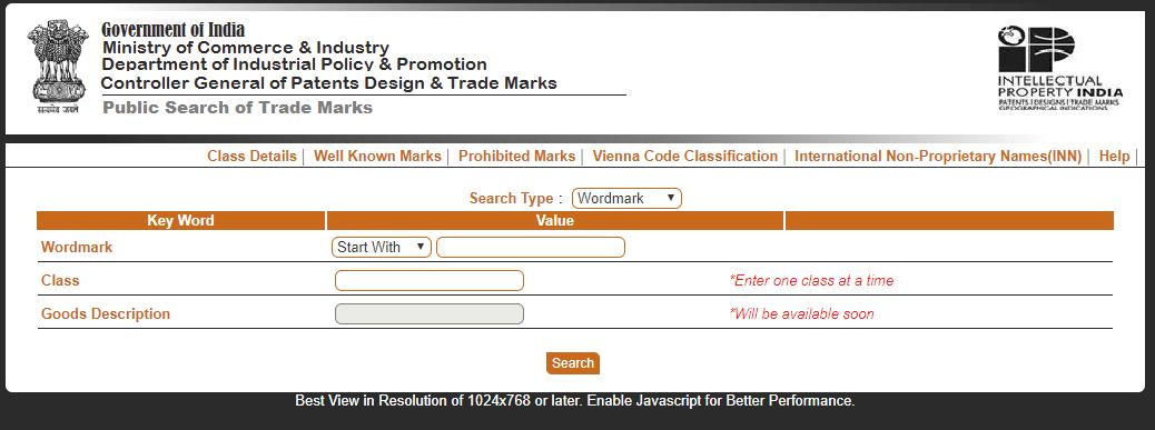 Trademark Public Search - Ipindia.nic.in
