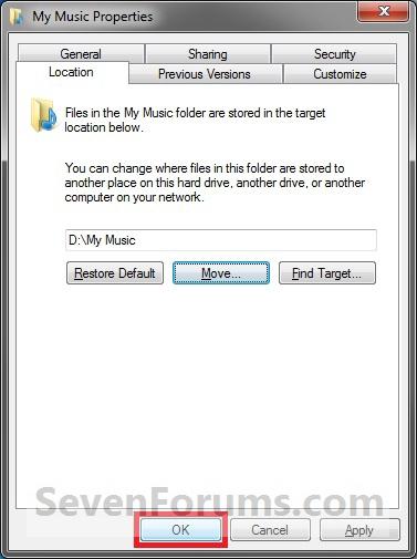 โฟลเดอร์ของผู้ใช้ - Default เปลี่ยนสถานที่ตั้ง properties3.jpg-