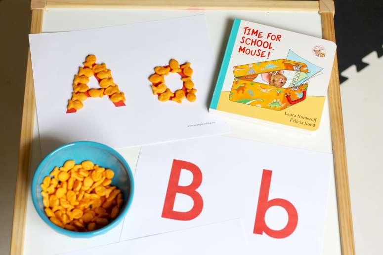 Goldfish alphabet activity snack hack!