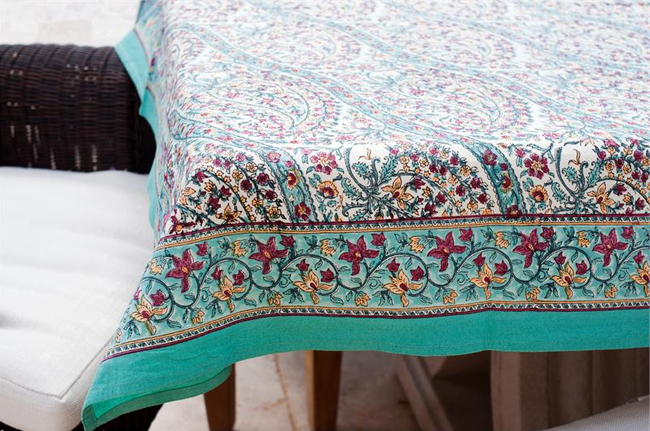 Turquoise Paisley Tablecloths 6995 Fair Trade Gifts Seven Hopes United Fair Trade