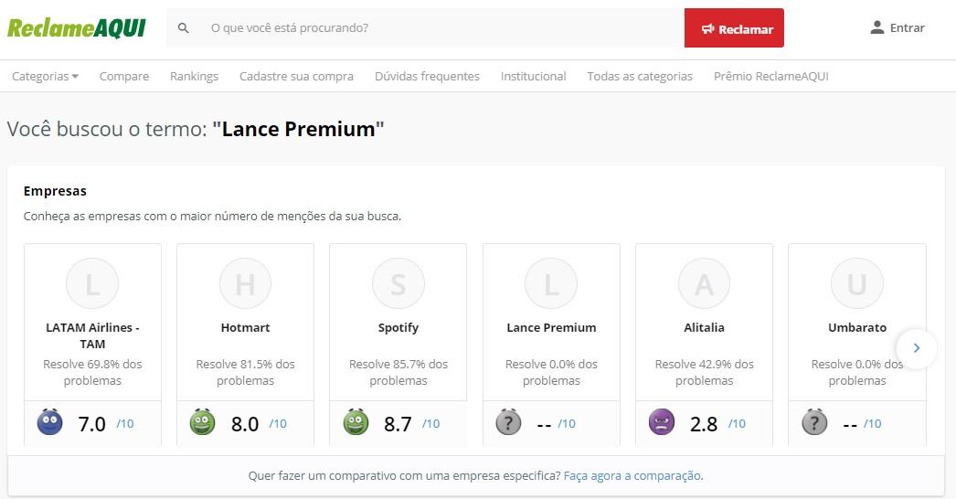 Lance Premium reclame aqui