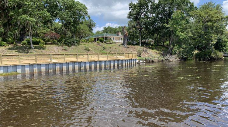 Marine Construction Vinyl Bulkhead Bank Stabilization Seawall Install in Georgetown County