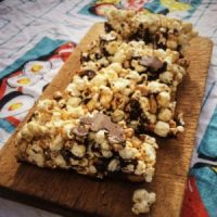 Salted Peanut Butter & Dark Chocolate Popcorn Bars