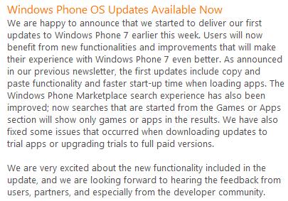 lancement du déploiement de la mise à jour windows phone