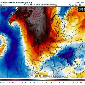 Extreme warmth for Iceland and Greenland this weekend, Nov 16-18th