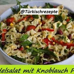 Nudelsalat mit Knoblauch Pesto