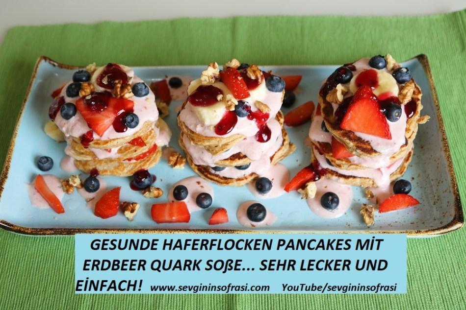 Gesunde Haferflocken Pancakes mit Soße