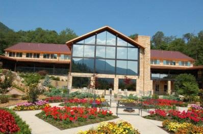A glazed glass window installation reflecting a beautiful mountain scene