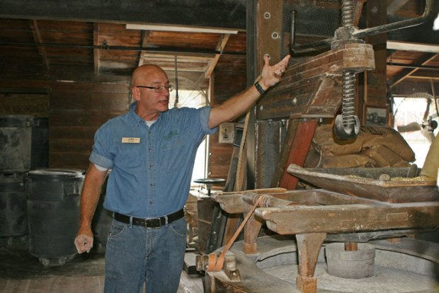 Chuck Childers of The Old Mill explains the milling process for corn that will be supplied to the Old Forge Distillery.