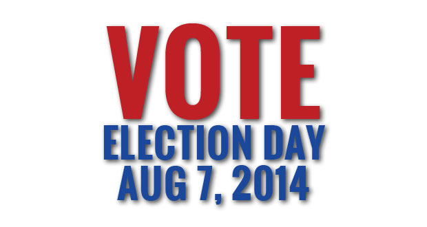 Polls open 8:00 a.m. to 8:00 p.m. on Thursday, August 7, 2014.