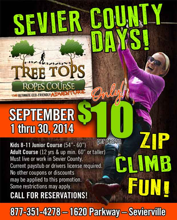 Sevier County Days at Tree Tops Rope Course
