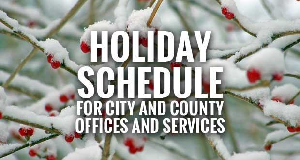 Holiday Schedule for Sevierville, Gatlinburg, Pigeon Forge and Sevier County Offices and Services