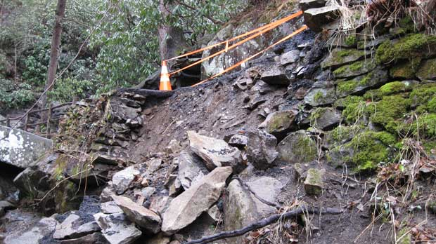 Laurel Falls Trail closed due to washout.